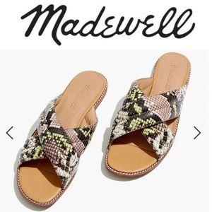New Madewell Skyler Slide Sandal Snake Embossed 5
